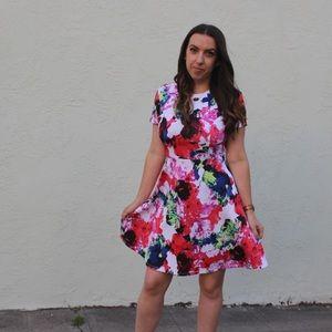 MILLY x DesigNation Floral Fit & Flare Scuba Dress